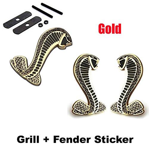 Cobra Grille Emblem - 2pcs Sets AM101 Cobra Front Grille Gold + Back Sticker Car Emblem Badge For Ford Mustang Shelby Cobra
