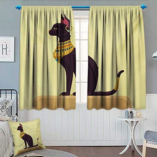 Chaneyhouse Egypt Room Darkening Curtains Antique Ancient Times Mystical Cartoon Style Cat with Earring Image Decor Curtains by 55