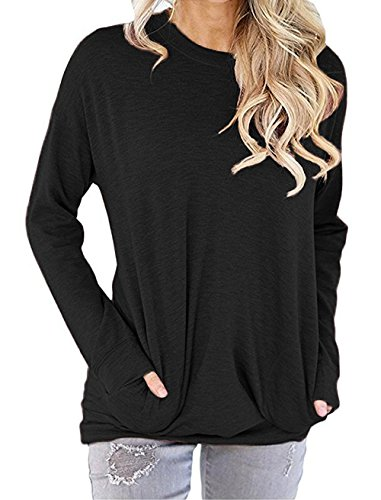 GSVIBK Women Casual Round Neck Sweatshirts Long Sleeve Pullover Shirts Tops Soft Sweatshirts Blouse Pocket Black L