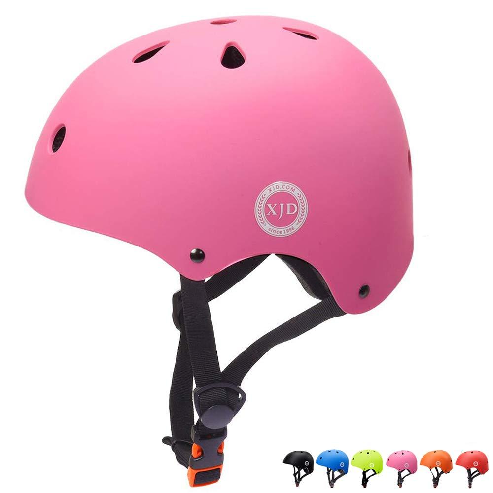 XJD Toddler Helmet Kids Bike Helmet CPSC Certified Adjustable Bike Helmet Ages 3-8 Girls Boys Safety Skating Scooter Cycling Rollerblading (Pink)
