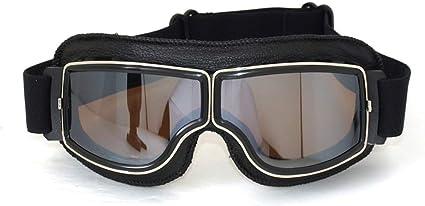 Vintage Motorradbrillen Schutzbrille Für Pilot Schwarz Versilbern Brillenglas Auto