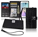 S6 Edge Plus Wallet Case, Matt [ 8 Pockets ] 7 ID / Credit Card 1 Cash Slot, Power Magnetic Clip With Wrist Strap For Samsung Galaxy S6 Edge + Leather Cover Flip Diary (Black)