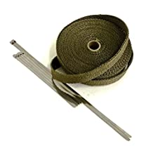 Titanium LAVA High Temperature Header Exhaust Pipe Insulation Wrap Kit: 1 Roll LAVA 1 INCH WIDE X 50 FEET LONG with Stainless Steel Zip Ties Kit - Thermal Zero - LV116150TK