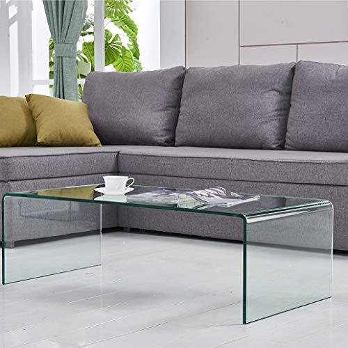 FENGHUA GLASS HOME Coffee Table Thick Tempered Glass Living Room Table...