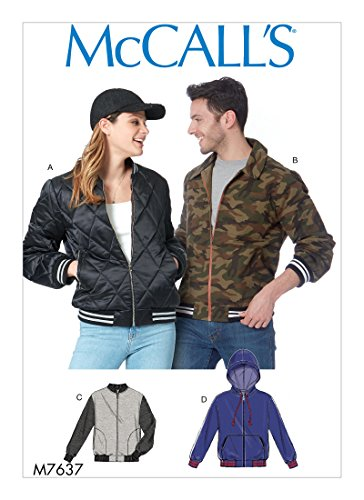MCCALLS M7637 Misses' &Men's Unisex Bomber Jackets (SIZE S M L) SEWING PATTERN - Mens Jacket Patterns