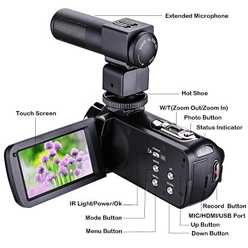 KINGEAR HDV-301M 24MP HD 1080P 3.0'' LCD Screen Digital Video Camcorder With Microphone