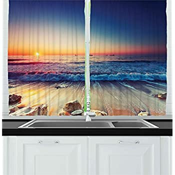 Ambesonne Kitchen Decor Collection, Sunset View On The Beach Shore Waves  Surf Modern Home Decor
