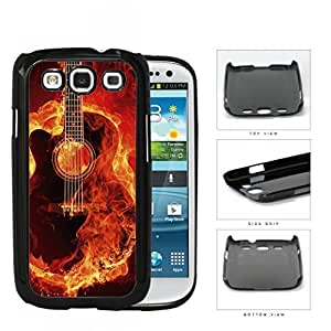 Acoustic Guitar Burning With Fire Flames Hard Plastic Snap On Cell Phone Case Samsung Galaxy S3 SIII I9300Kimberly Kurzendoerfer