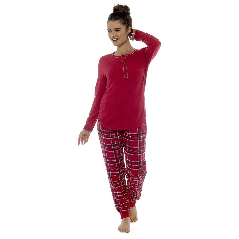 Socks Uwear Foxbury Ladies Jersey Cotton Long Checkered Cuffed Pyjamas LPYJ-LN837