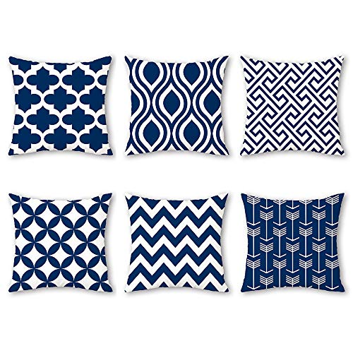 Shenermay Modern Geometric Throw Pillow Cases Navy Cozy Print Cushion Covers Stripes Painted for Couch Bed Sofa Fleece Fabric Home Decor Set of 6 18 x 18 ()