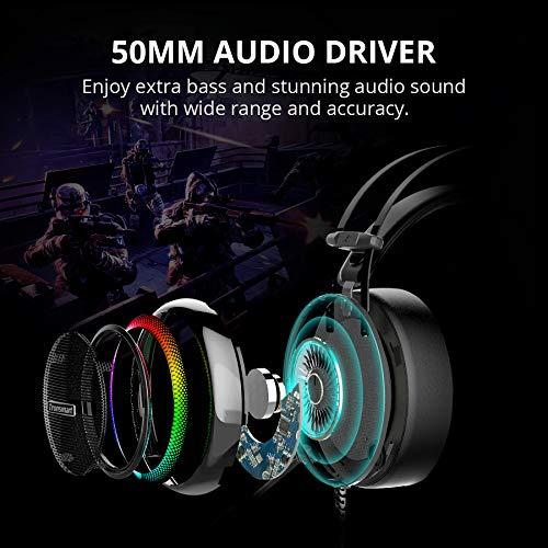 Tronsmart Glary Auriculares Gaming para PS4 Sonido Envolvente 7.1- Drivers de Transductores 50mm-Profesional Cascos…