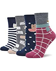 LOFIR Dikke thermosokken voor dames, warme sokken van katoen, schattig dierenpatroon, cartoonsokken, maat 35-41, 4 paar