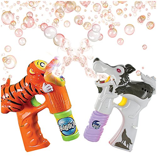 ArtCreativity Tiger and Wolf Bubble Blaster Set with Lights and Sound, Includes Orange Tiger Bubble Gun, Scary Wolf Bubble Gun and 4 Bottles of Solution, Great Gift for Kids - Batteries Included