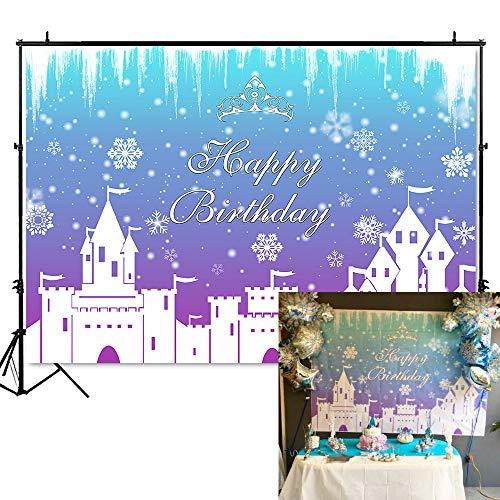Mehofoto Winter Birthday Backdrop Ice Castle Fairy Tale Photography Background 7x5ft Vinyl Winter Wonderland Birthday Party Banner ()
