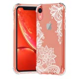 KERZZIL iPhone XR Case, Clear Lace Flower Pattern Design Shockproof Transparent Girls and Women Floral Cover, Cases for iPhone XR 6.1 Inch, White Lotus