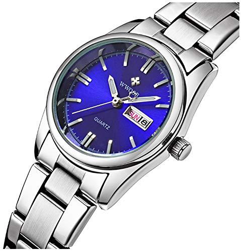 (Luxury Women's Fashion Luminous Quartz Dress Waterproof Calendar Stainless Steel Sports Wristwatch Blue)