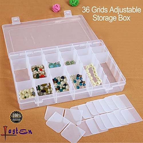 36 Grids Plastic Jewelry Box Earring Organizer Storage Containers with Movable Dividers for Beads Jewelry Small Parts Things Sold by Lasten (Box Divided)
