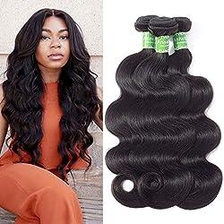 Brazilian Body Wave Virgin Hair 3 Bundles Lot Virgin Unprocessed Wet And Wavy Human Hair Weave Wefts 100g Per Bundles Mink Brazilian Hair Body Wave(14 16 18, Natural Black)
