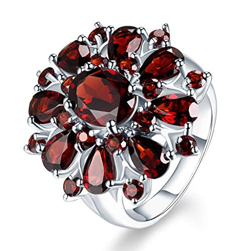 Aunimeifly Women's Inlaid Pomegranate Ruby Full Diamond Inlay Ring Engagement Ring