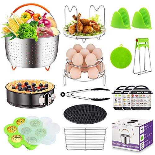 Pressure Cooker Accessories Compatible with Instant Pot Accessories (6,8 Qt), Ninja Foodi (8qt), Other Mullti Cookers, with Steamer Basket, Springform Pan, Stackable Egg Rack, Egg Bites Mold and More ()