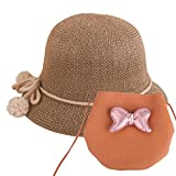 Baby Straw Hat Summer Girls Hat Purse Set Beach Floppy Hats Kids Sun Hat with Bag (Brown)