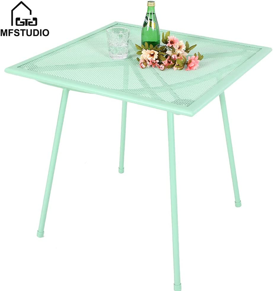 """MF STUDIO 27"""" Green Bistro Garden Mesh Table Patio Metal Steel Square Dining Table for Backyard, Top Outdoor Coffee Table, Green"""