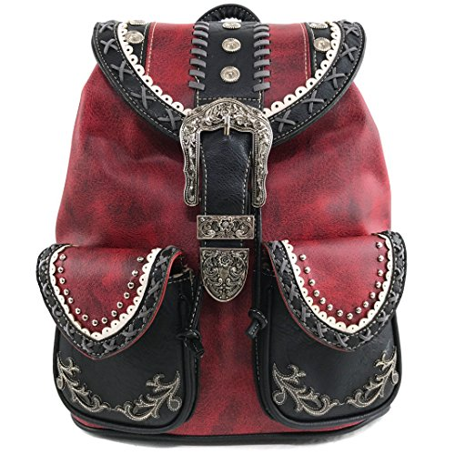 Justin West Trendy Western Rhinestone Leather Conceal Carry Top Handle Backpack Purse (Western Red)