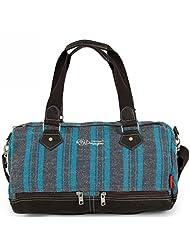 DouGuYan Women Fashion Stripe Big Capacity Gym Travel Tote Bag Sports Duffel Luggage Light Blue Stripe 42404