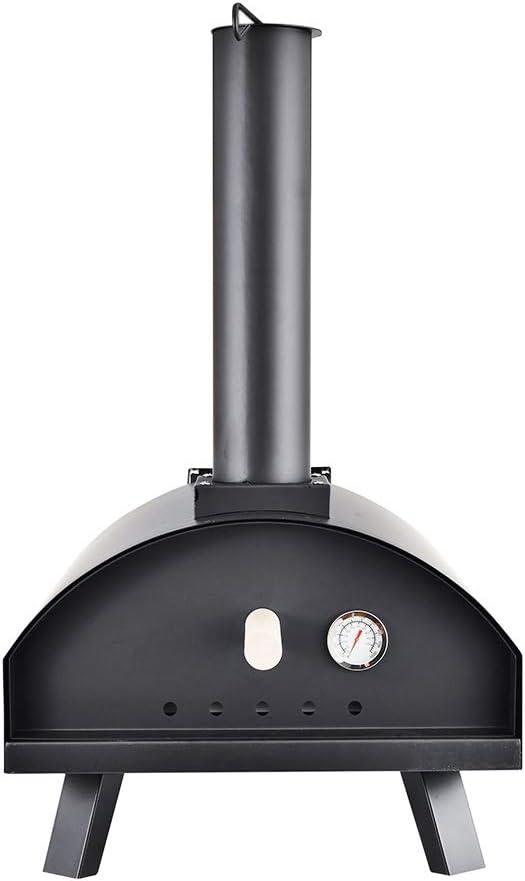 Horno de Pizza Multi combustible - Horno Portátil para Pizza con Piedra de 13 para Hornear Pan y Cocinar Carne/Verduras con Termómetro - Leña, Carbón/Briquetas y Quemador de Pellets para el Jardín