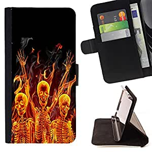 Pattern Queen- Skull Devil Diablo Extraterrestrial - FOR Samsung Galaxy S4 Mini i9190 - Leather Case Cover Credit Card Slots Flio Flip Wallet Card