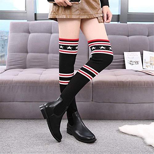 Eu negro Señoras Altas Sobre Punto La Rodillas Sed Con Botas Raya Los Gruesa 36 37 Elástico De Las Zapatos Eu wTXqxz5qa