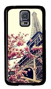 Paris Eiffel Tower Theme Case for Samsung Galaxy S5 i9600 PC Material Black