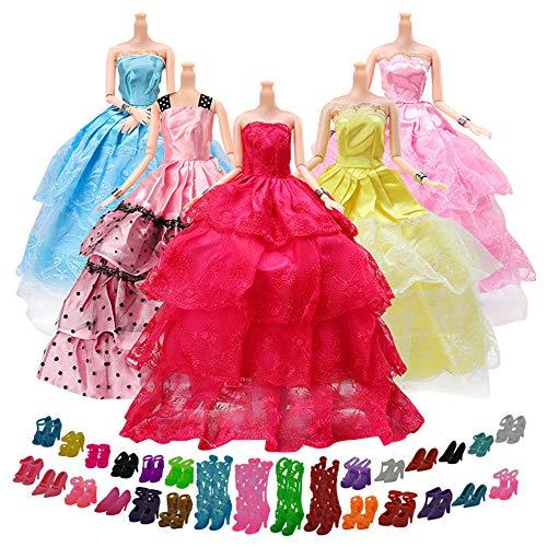 Pour au Hasard 5 Yomon Et Barbie Fashionistas Robes Parti De Chaussures Paires 20 xpP7Sqx