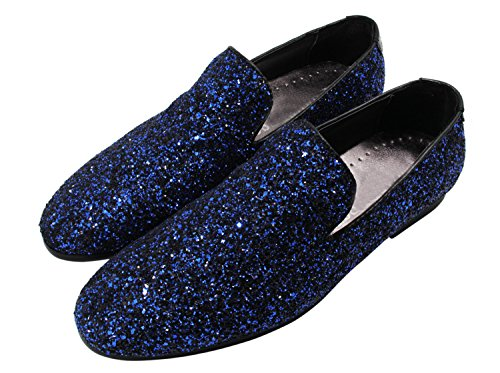 Santimon Mens Dress Shoes Metallic Fashion Genuine Leather Rock Slip on Loafers Evening Shoes Blue wW8iF5T