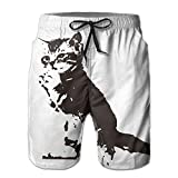 ZAPAGE Lovely Cat Boys Quick Dry Boardshorts Printed Home Shorts With Pocket