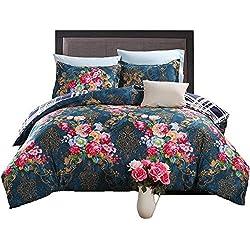 GOOFUN-D6Q 3pcs Duvet Cover Set/Bedding Set(1 Duvet Cover + 2 Pillow Shams) Lightweight Microfiber Well Designed Print Pattern - Comfortable, Breathable, Soft & Extremely Durable,Full/Queen Size
