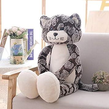CushionsHome Peluche a Forma di Gatto Morbido Peluche per Gatti di Gatto Grigio Nero Giocattoli per Animali di Peluche Lovely Anime Regalo di Compleanno per Bambole per Bambini 50CM Tipo A