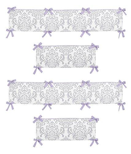 Elizabeth Crib Bedding (Sweet Jojo Designs Lavender and Gray Elizabeth Collection Crib Bumper)