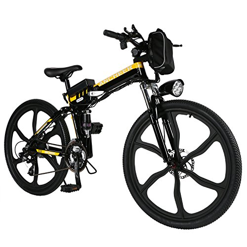 ANCHEER Folding Electric Mountain Bike with 26' Super Lightweight Magnesium Alloy 6 Spokes Integrated Wheel, Premium Full Suspension and Shimano 21 Speed Gear (Yellow.)