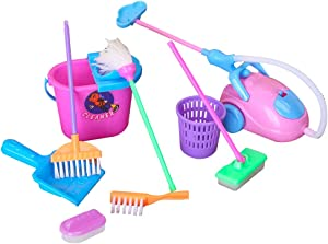 E-TING Miniature Mop Dust Pan, Brush, Broom, Bucket Doll Housework Cleaning Set Dollhouse Garden Accessories for 11.5 inch Dolls Accessories