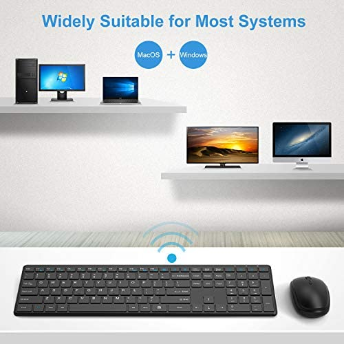 Wireless Keyboard and Mouse Combo, WisFox 2.4G Full-Size Slim Thin Wireless Keyboard Mouse for Windows, Computer, Desktop, PC, Laptop Mac (Black)