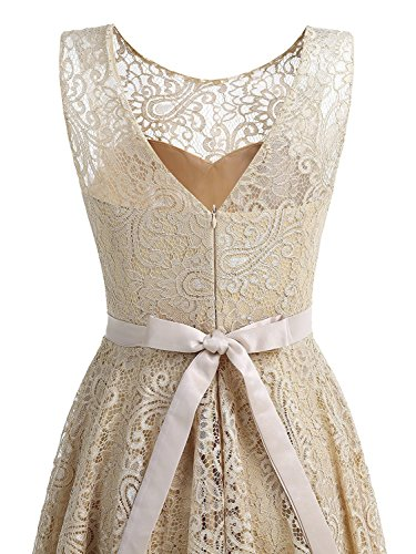 Abendkleider Ballkleider Lace aus Faltenrock Ärmellos kurz Clearbridal CSD428 Damen Beige Abschusskleider nxYOOH