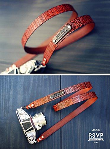 Nikon Slr Gps (Custom Leather Camera Strap, Handmade personalized gift, DSLR camera strap, Custom name initials, GPS coordinates, Aztec)