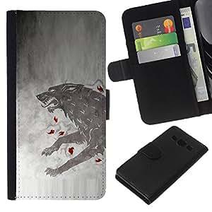 LECELL--Cuero de la tarjeta la carpeta del tirón Smartphone Slots Protección Holder For Samsung Galaxy A3 -- GOT Lobo --