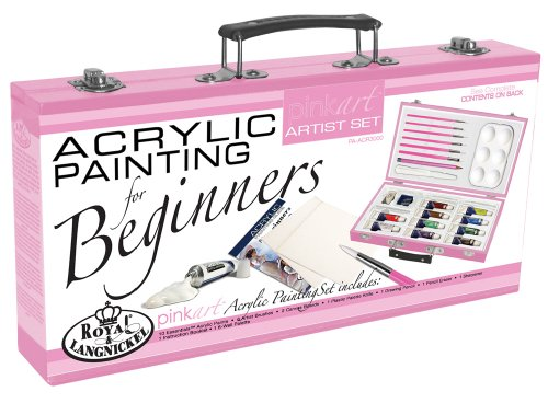 ROYAL BRUSH PA-ACR3000 Royal Langnickel Pink Art Acrylic Painting Artist Set Beginners, Pink