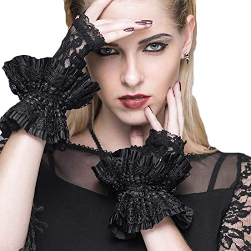 Sylviaan YY6 Gothic Gloves for Women Lolita Short Lace Wrist Length Floral Black Half Finger Party Wedding (Color : Black)