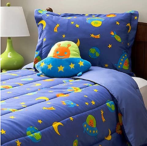 3 Piece Kids Alien Space Ships Comforter Twin Set, Outer Space Flying Rockets Bedding for Children, All Over Cute Faces Aliens UFO, Sun, Moon, Earth Print, Vibrant Colors Navy, Yellow, Orange, (Rocket Twin Bedding)