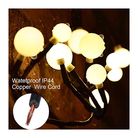 Globe Decorative String Lights,BaiYunPOY 8.3Ft 72 LED Hanging Indoor/Outdoor String Lights for Garden,Xmas Party,Bedroom,Dorm,Window Curtain Backyard,Party,Wedding(Warm White) - INNOVATIVE LIGHTING - There are 72 energy-saving light bulbs, divided into 24 groups with three light bulbs in each group(0.95in/0.75in/0.55in). The vineyard-like effect resembles grapes on a vine. The flexible wire gives you a lot of freedom to place in different patterns. Use your creativity! 8 MODES & MEMORY FUNCTIONS - There are many beautiful effects to choose from: combination, waves, sequence, glowing , chasing, slow fade, twinkle, and steady on. It automatically records your previous setting even after unplugging it and it will start from the last mode used. EASY TO USE - Plug in or unplug the cord for easy power on and off. US standard voltage, 24V, with one button for switching between 8 modes. - patio, outdoor-lights, outdoor-decor - 51mtXwhOc9L. SS570  -