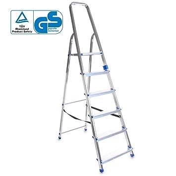 Aluleiter Klappleiter 6 Stufen Leiter Stehleiter Haushaltsleiter