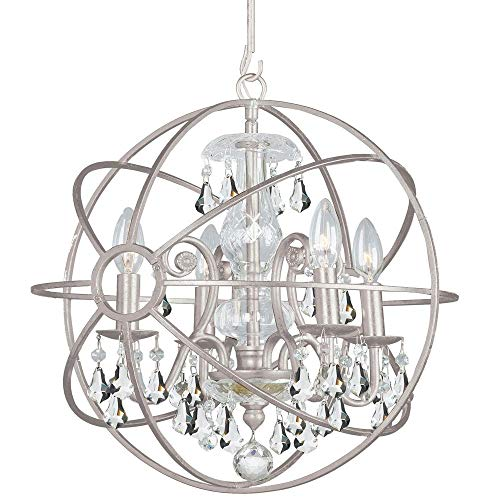 Crystorama 9025-OS-CL-MWP Solaris Pendant, 4-Light 240 Total Watts, Olde Silver